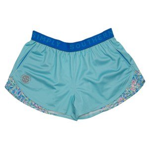 "Light Blue shorts   with dark blue """"Simply Southern"""" waistband and a   vibrant brushstroke pattern of pink, green, and blue."