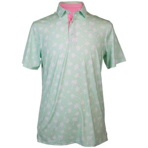 Pastel green with   white palm trees design polo shirt with a quarter-length button front, short   sleeves, embroidered Simply Southern logo on the chest, and collar.