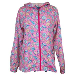 Pink   background with soft pinks, blues, and greens shells print water resistant   rain jacket with an adjustable hood, elastic wrists, woven Simply Southern   tag, and 2 front pockets with buttons. Includes a full length zipper.