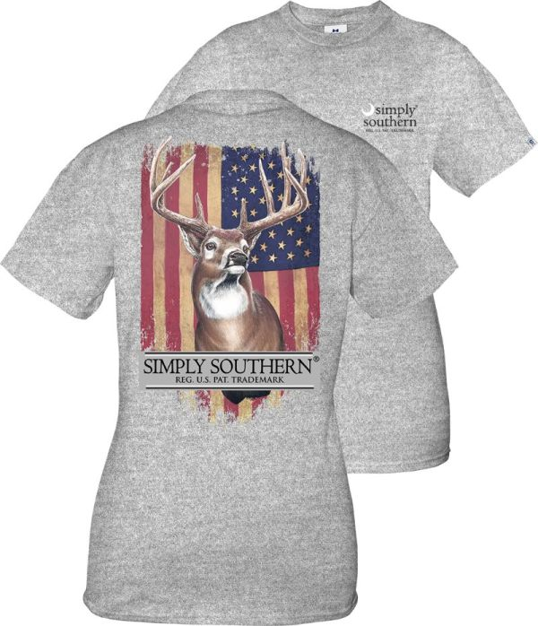 Heather gray   short sleeve shirt with a deer in front of a US flag and the Simply Southern   logo on the back. Small Simply Southern moon logo on the front chest.   Pre-shrunk and ring-spun 100% cotton with ribbed crew neckline. Unisex   sizing.