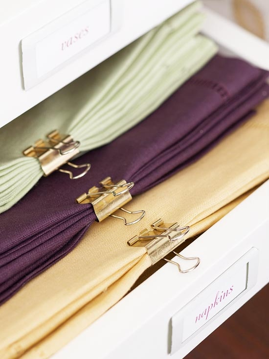 Linen and Napkin Sorting // Binder Blips Repurposed Around The House// simplyspaced.com