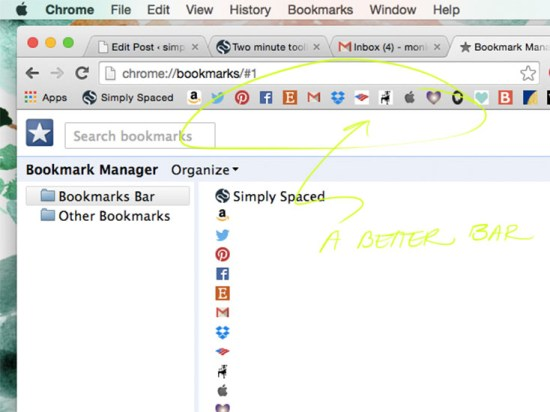 The Roomy Bookmarks Toolbar // Two Minute Toolbar: A Browser Makeover// simplyspaced.com