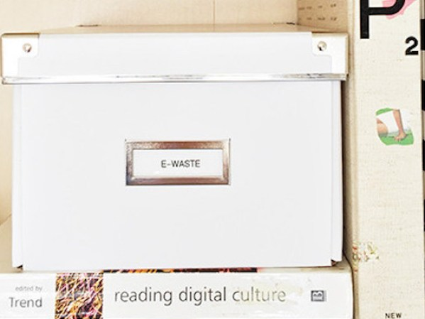 "Start an ""E-Waste"" Box In Your Home // 5 ""Out of the Box"" Ways to Simplify at Home // simplyspaced.com"