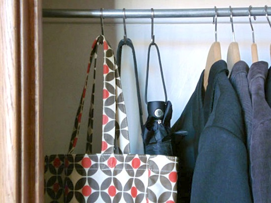 S-Hooks for Spare Closet Items // 14 ways to Organize with S-Hooks // simplyspaced.com