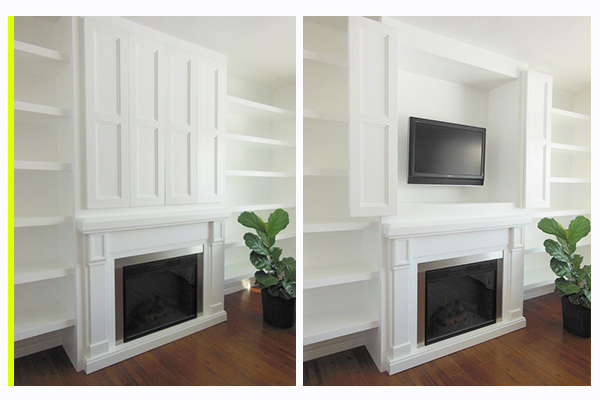 Hidden Flat Screen Television In A Built-In Cabinet // Storage Solution: Hidden Flat Screen Television // simplyspaced.com