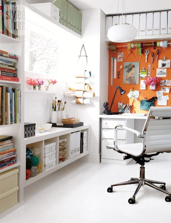 White Filers and Bins From Wall To Wall // 12 Creative Spaces for the Organized Artist // simplyspaced.com