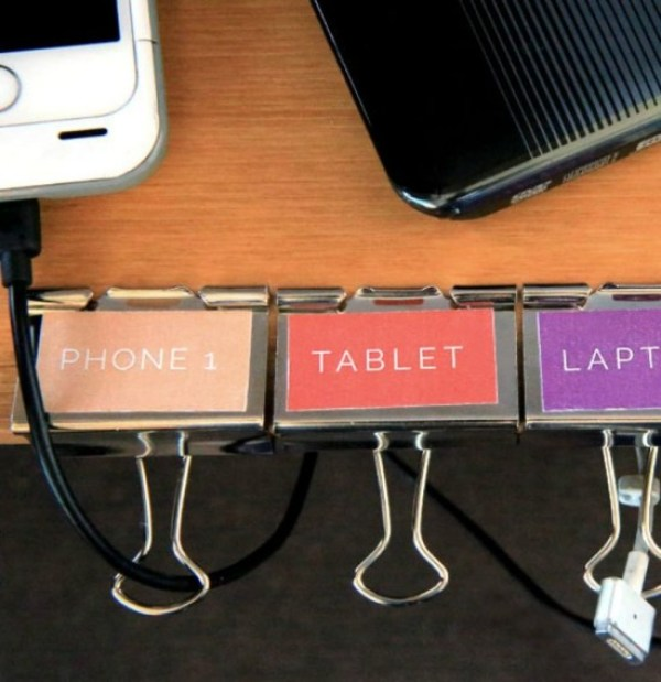Label Binder Clips to Keep Each Cord Easily Identifiable and Retrievable // 7 Ways to Label Your Cords and Cables // simplyspaced.com