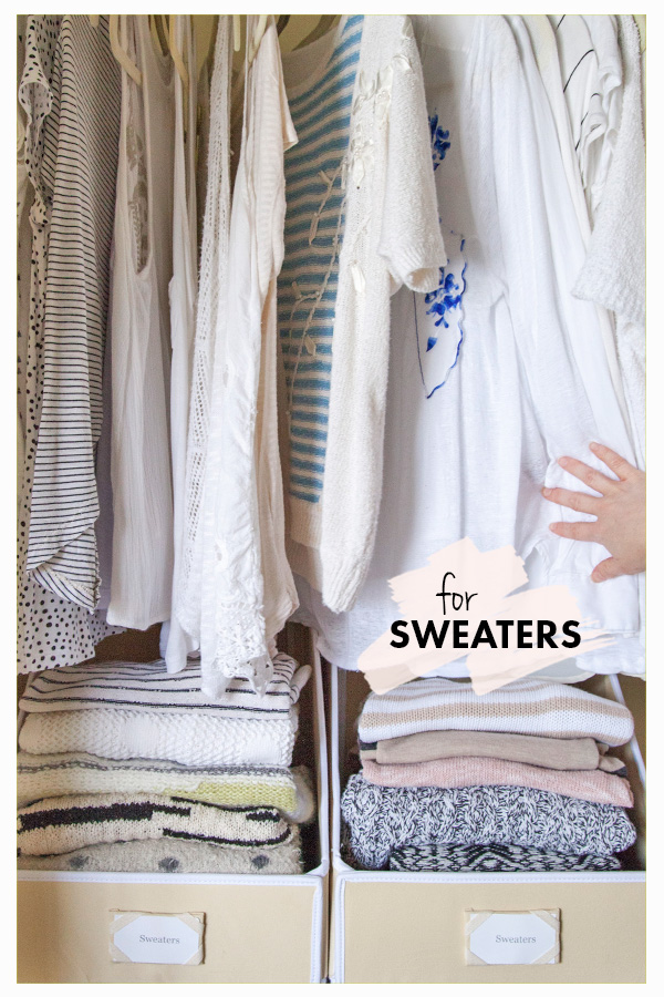 """Keep Sweaters Tidy, Stacked and Easy to See // """"Sweater"""" Bin Storage: 3 Ways // simplyspaced.com"""