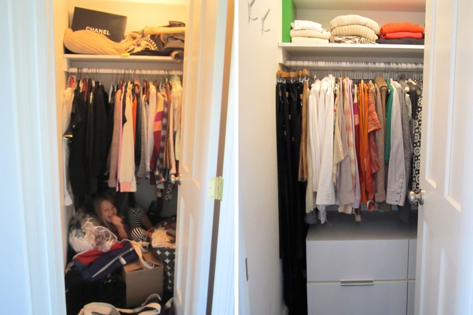 Organized closet before and after // wardrobe closet transformation // how to organize your closet // Simply Spaced