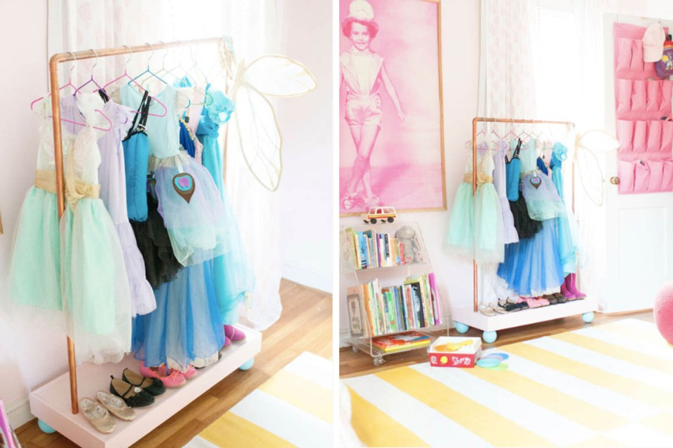 Organized Halloween Costumes // storage solutions // DIY clothing racks // kids costume // www.simplyspaced.com