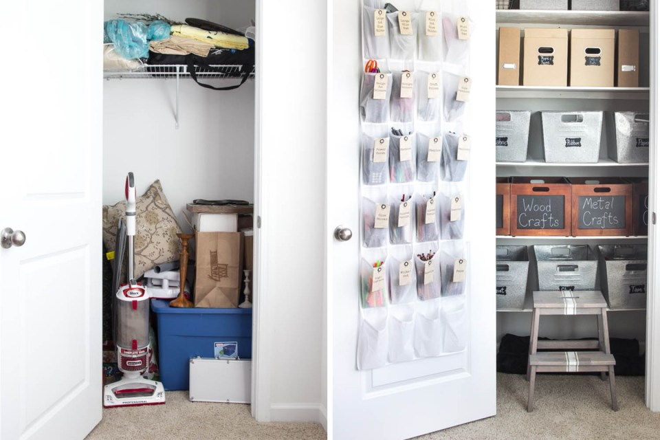 Closet organizing before and afters // utility closet // small space solutions // transformation // closet organizing // storage solutions // Office supplies