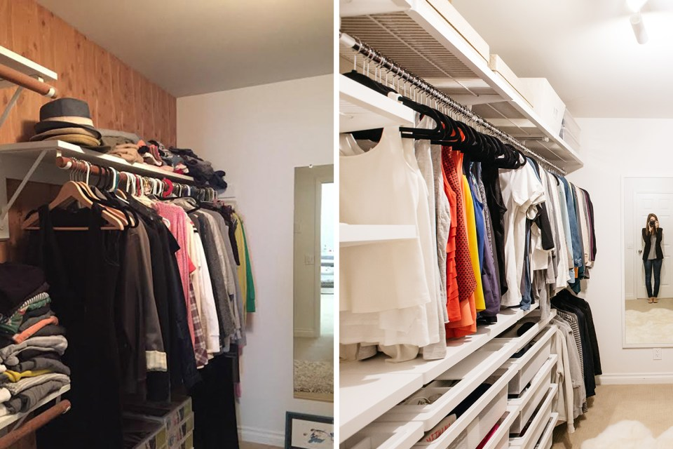 Closet organizing before and afters // clothing decluttering // transformation // closet organizing // storage solutions // dream closet