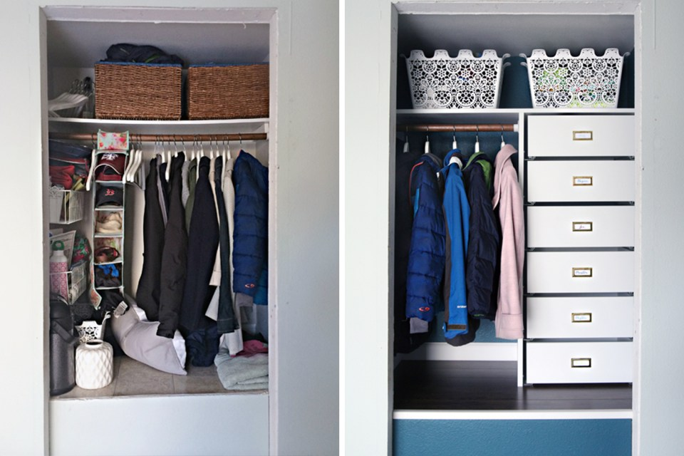 Closet organizing before and afters // organized office // transformation // coat closet organizing // storage solutions // Office supplies