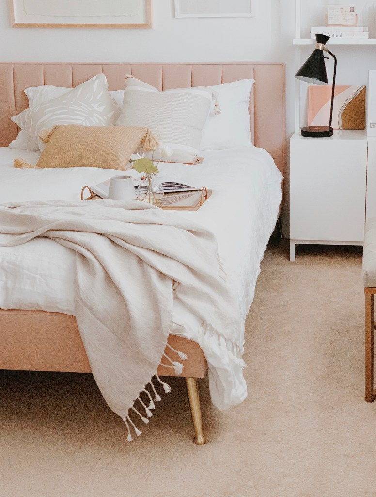 Toss on a lux linen throw to update your guest bedding.