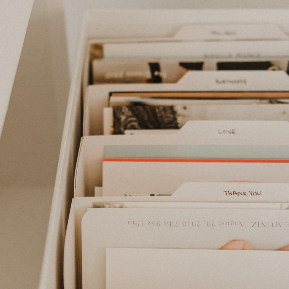Tips on How to Organize & Store Greeting Cards on Lifestyle Blog Simply Spaced