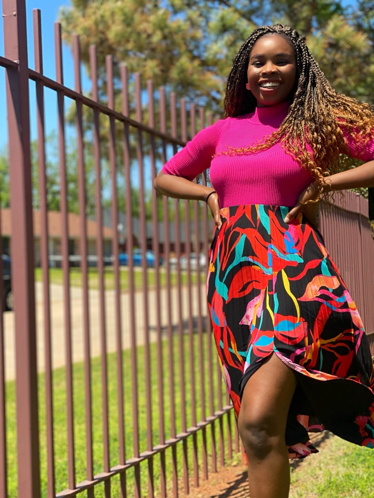 how to style floral pleat skirt