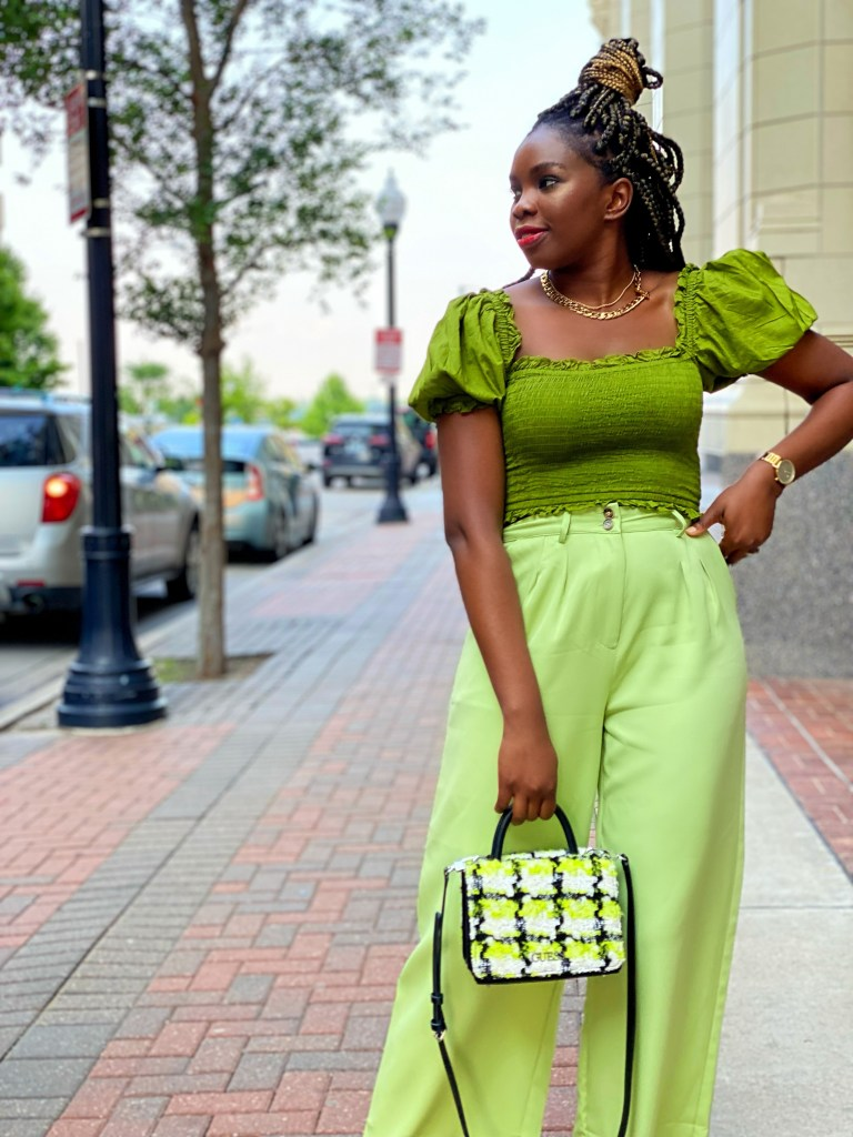 Styling a monochromatic green look