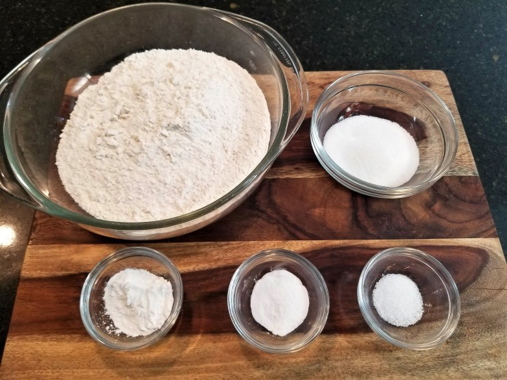 3 cups of all purpose flour, 3 tablespoons of sugar, 2 teaspoons of baking powder, 1 teaspoon of baking soda and 1/2 teaspoon of salt