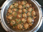 Tender meatballs served in marsala mushroom sauce sprinkled with crushed red pepper flakes, parsley and basil