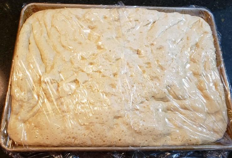 The dough for the Rosemary - Shallot Focaccia