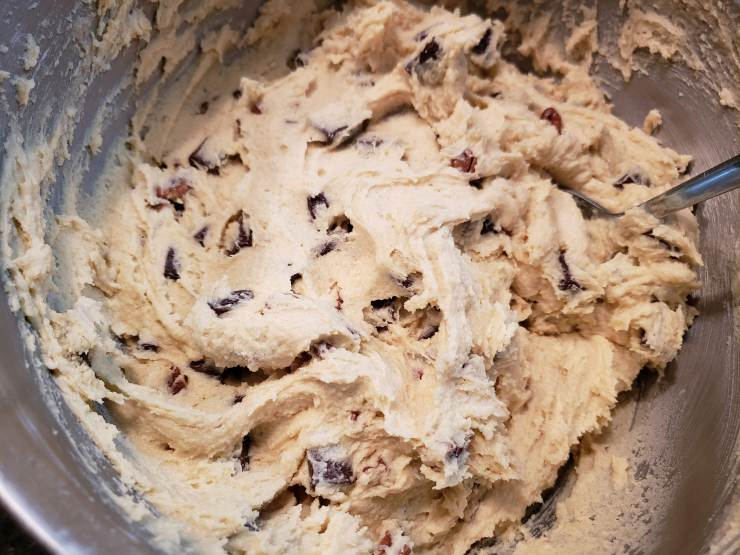 Raw cookie dough in a mixing bowl - Amazing Chocolate Chip Cookies
