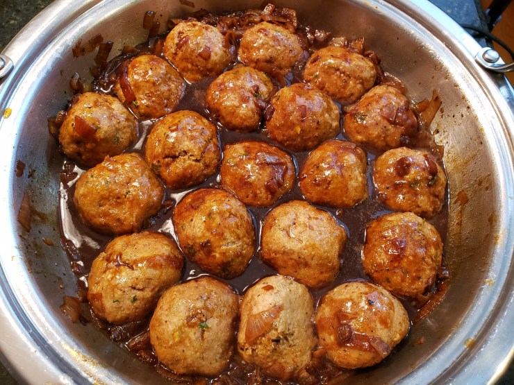 The meatballs have simmered for 10 minutes and the sauce has been reduced
