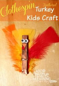 Clothespin Feathered Turkey Kid Craft