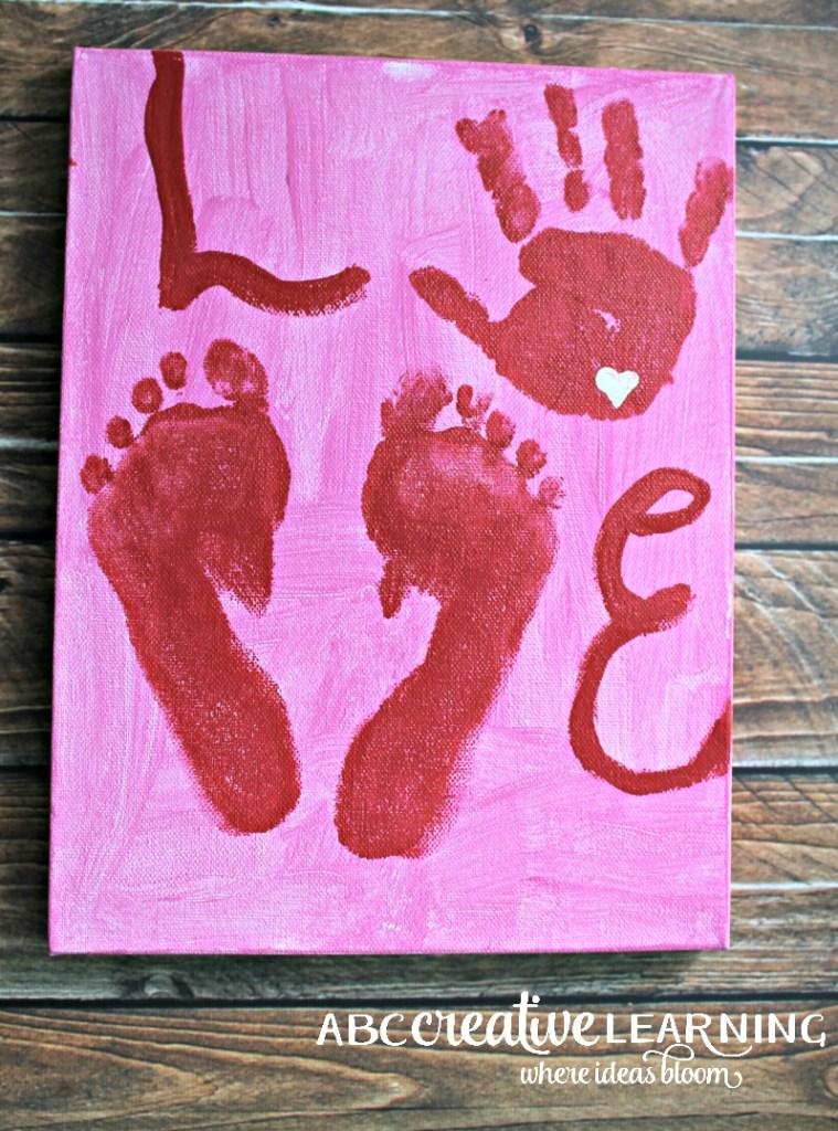 Valentine's Day Kids Handprint and Footprint LOVE Canvas Art Handprint