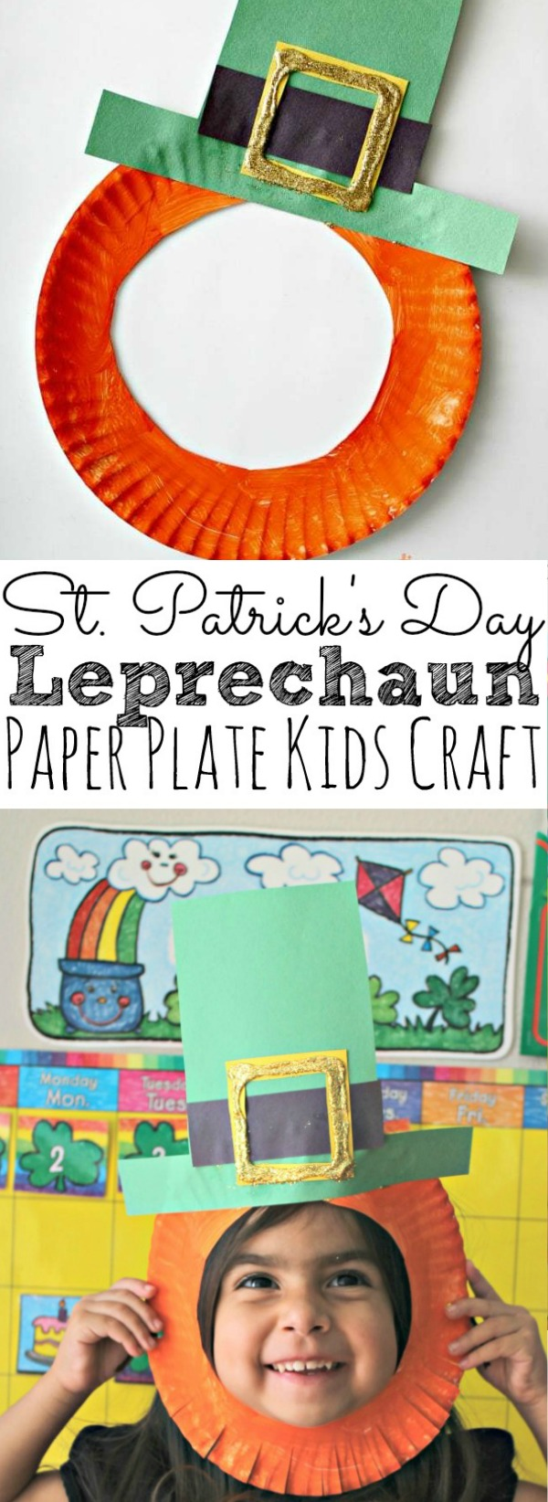 St. Patrick's Day Leprechaun Paper Plate Kids Craft For March