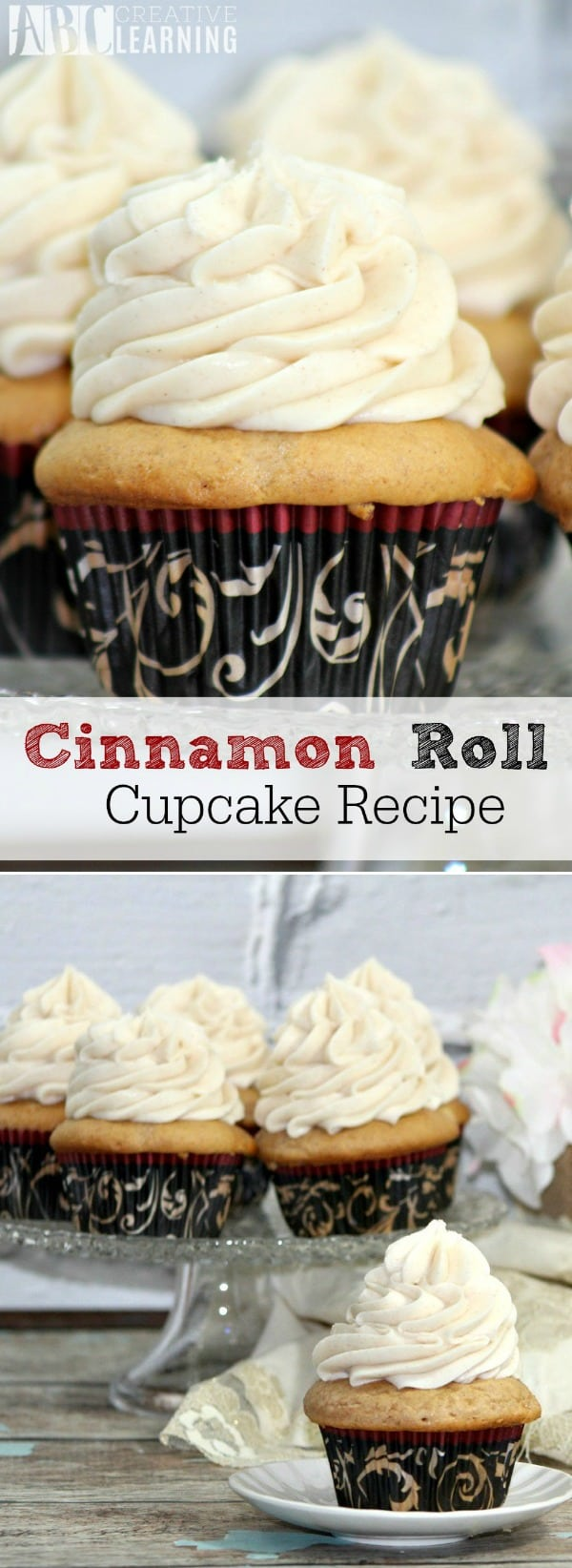 Does your family love fall desserts? Then this Cinnamon Roll Cupcake Recipe is for you! - simplytodaylife.com #dessert #cupcake #cinnamonroll #cinnamonrollcupcake #cinnamonrecipe #creamcheesefrosting #falldessert #falltreat