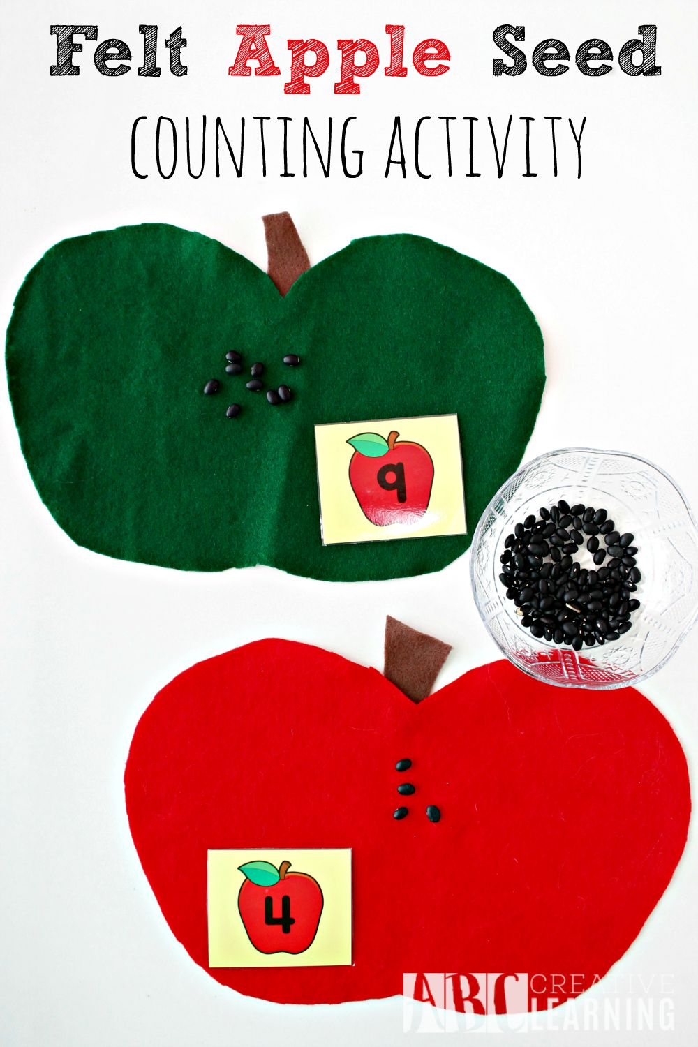 Felt Apple Seed Counting Activity