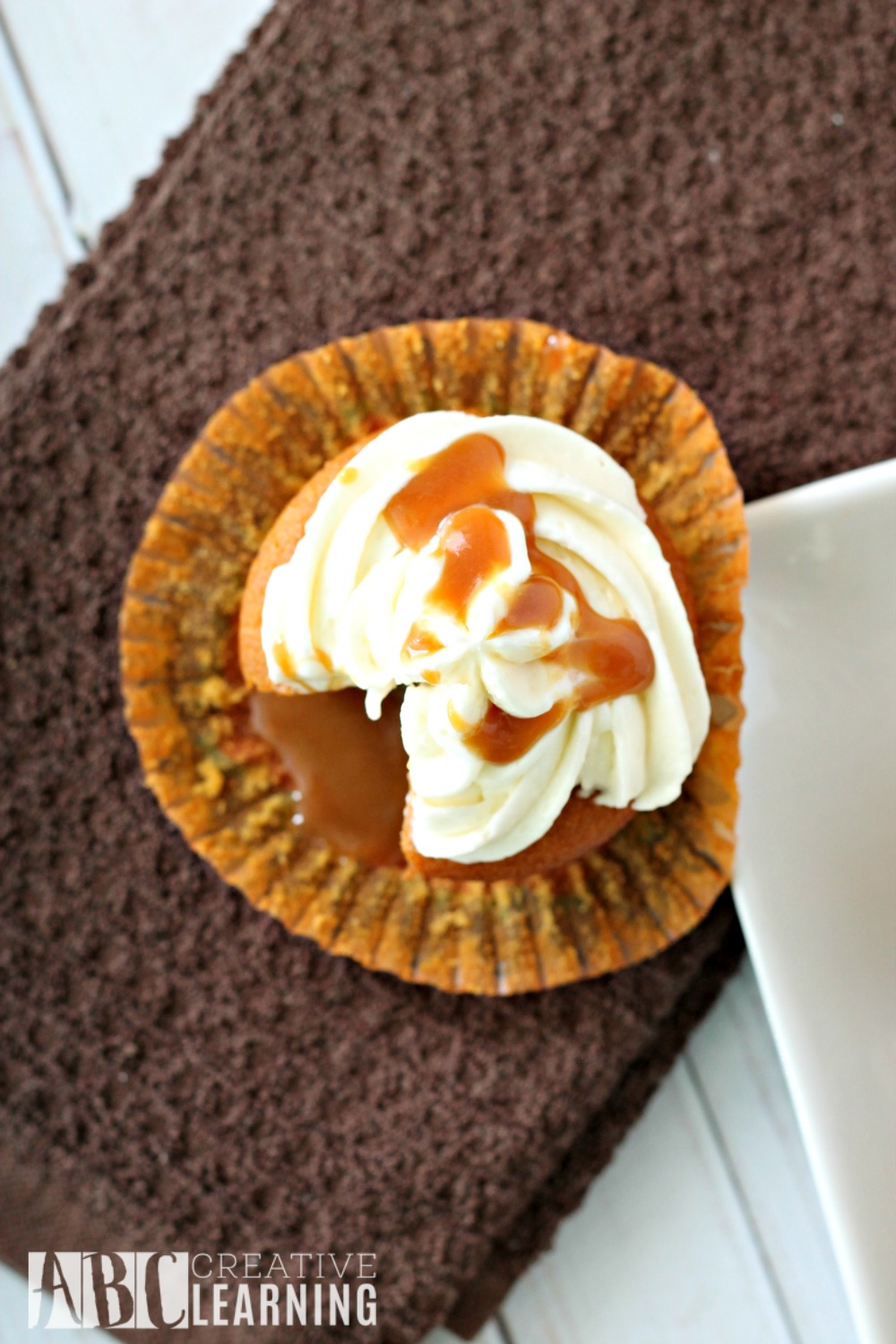 Caramel Pumpkin Spice Cupcakes with Marshmallow Frosting caramel