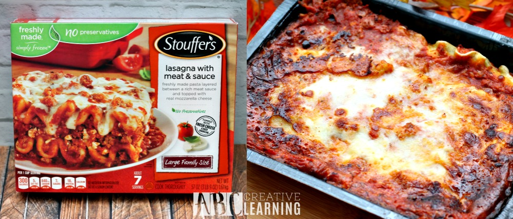 Easy Cheesy Garlic Pull Apart Bread and NESTLÉ® STOUFFER'S® Family Size Entreés lasagna meal