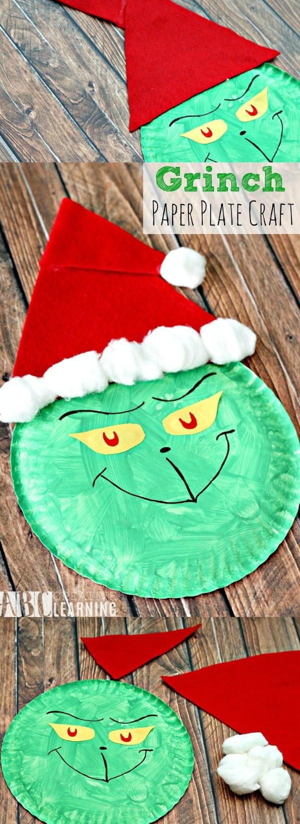 Grinch Paper Plate Craft