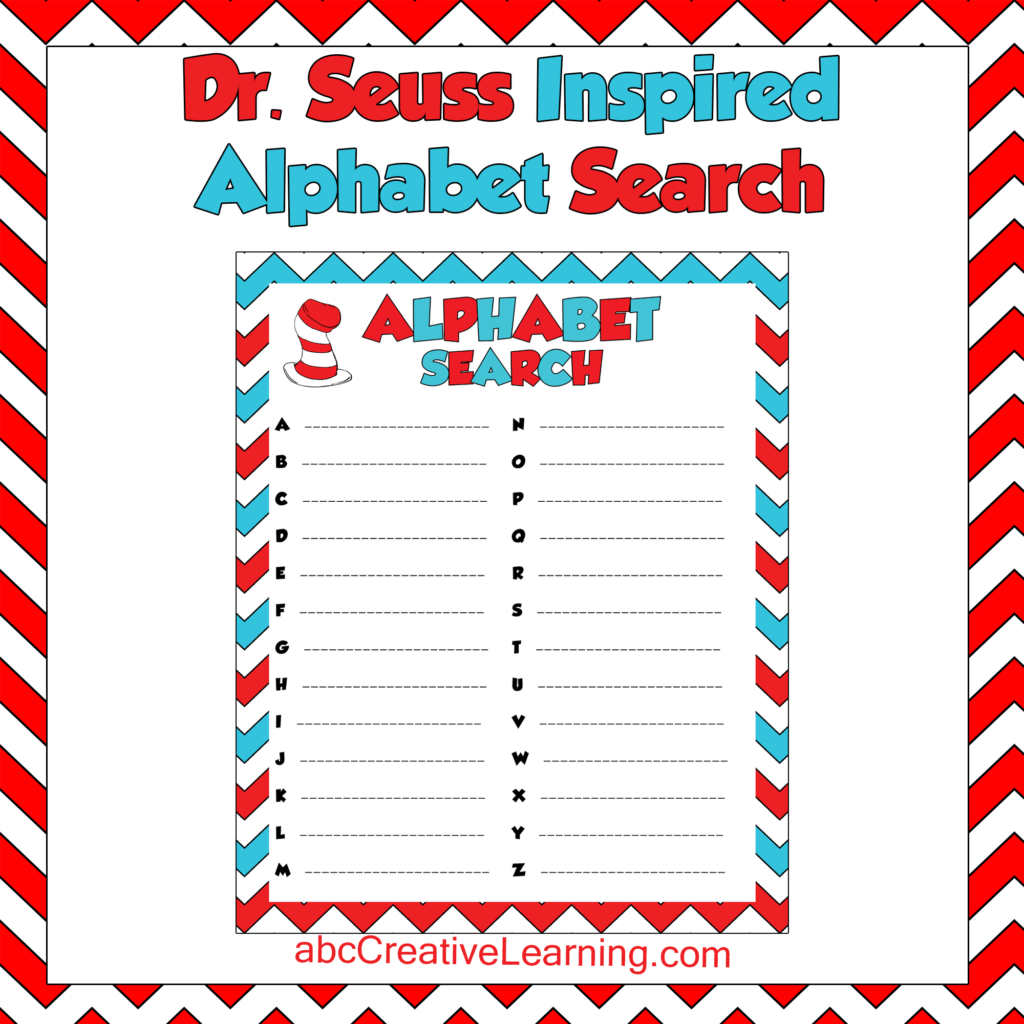 Dr Seuss Inspired Alphabet Search Game