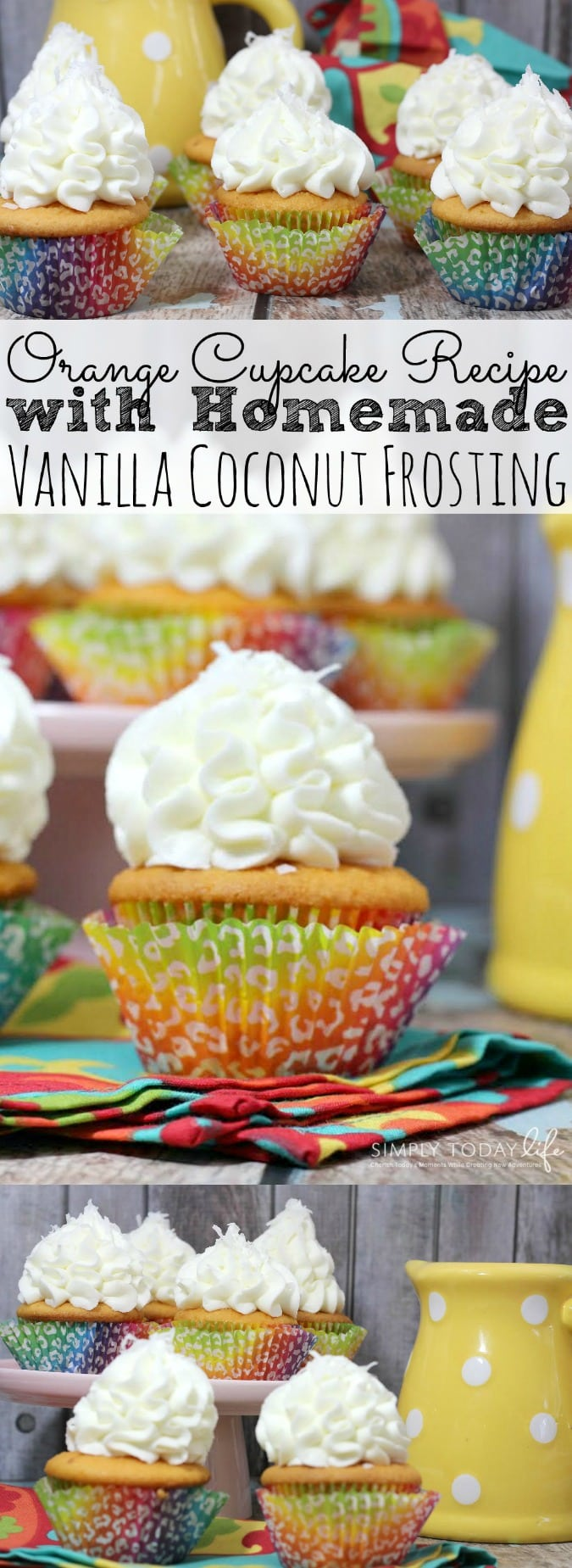 Orange Cupcake with Vanilla Coconut Frosting