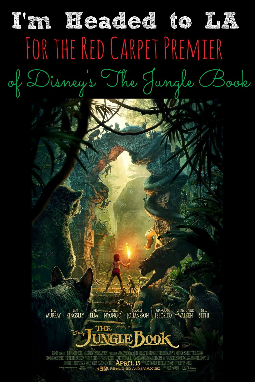 I'm Headed to LA For the Red Carpet Premier of Disney's The Jungle Book