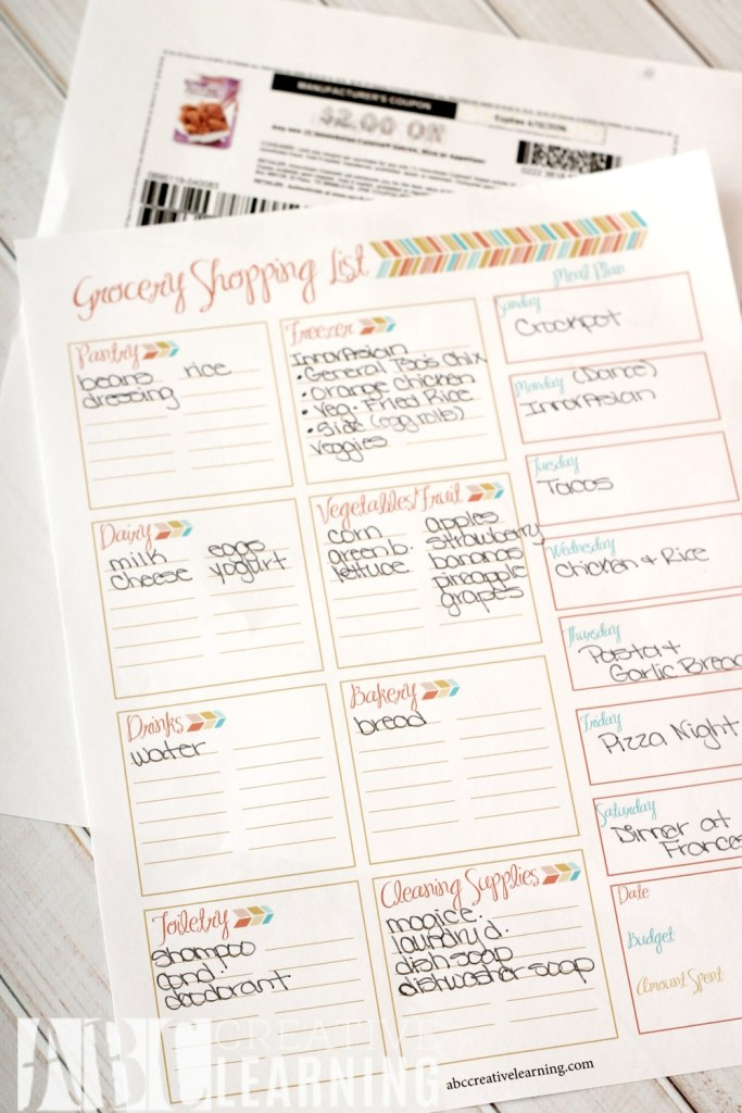 Weekly Meal Planner and Grocery Shopping List List