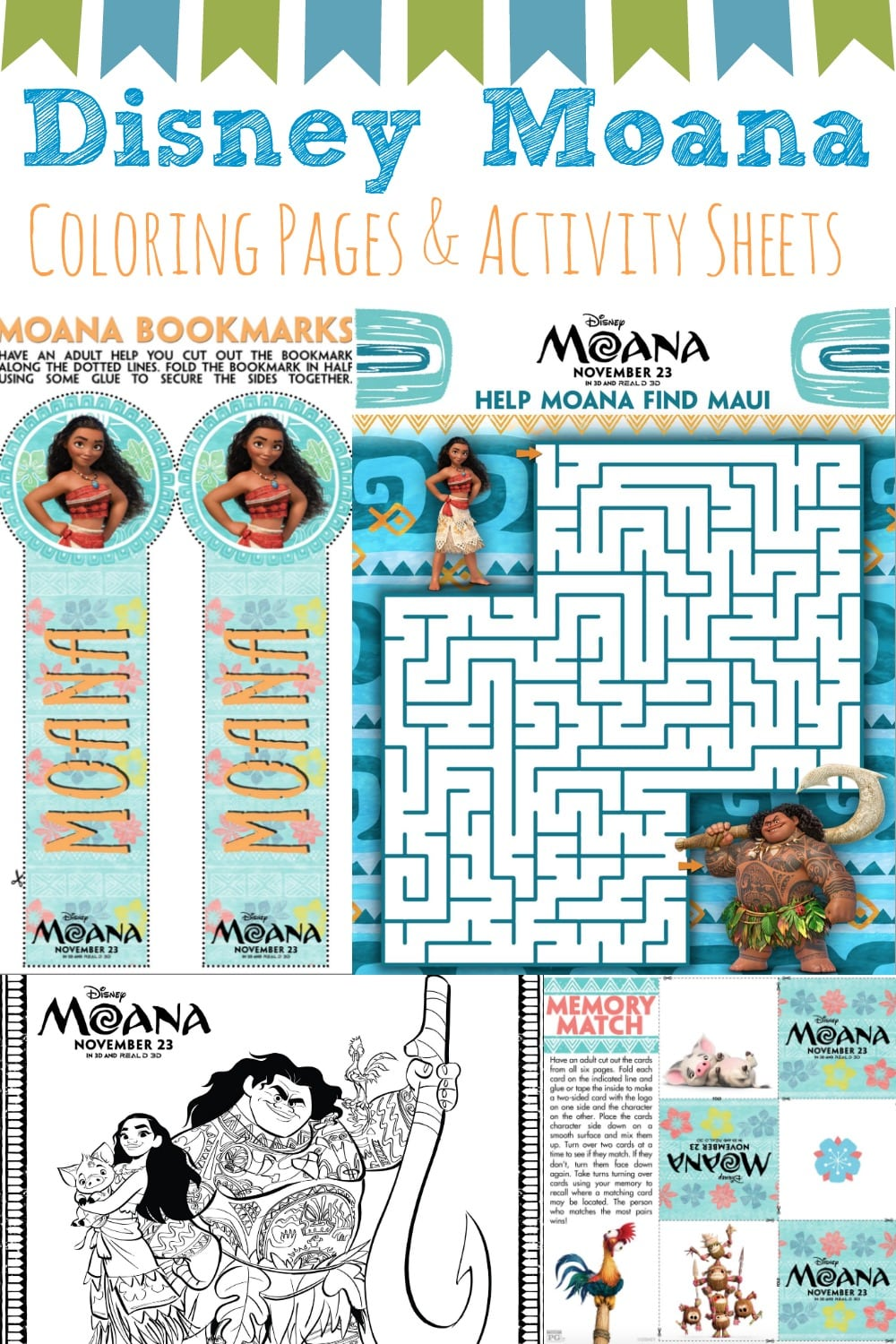 Moana Coloring Pages and Activity Sheets #Moana