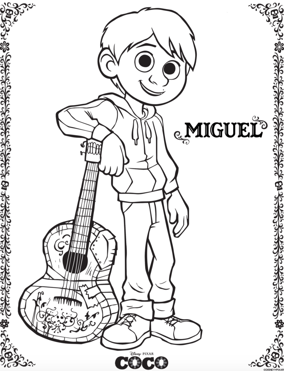 Free Coco Coloring Pages And Activity Sheets Png 784x1024 Guitar