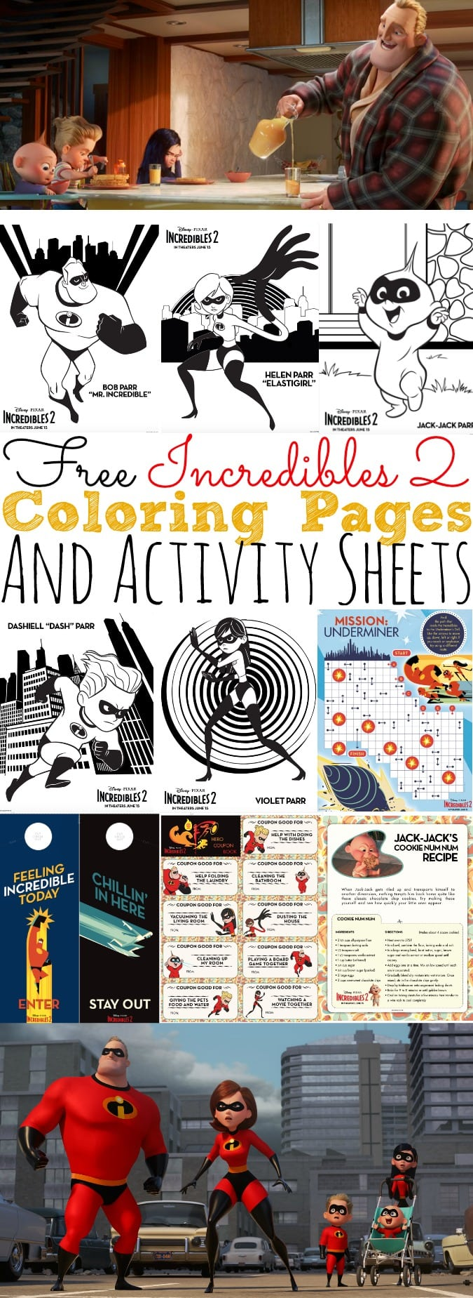 Free Incredibles 2 Coloring Pages and Activity Sheets