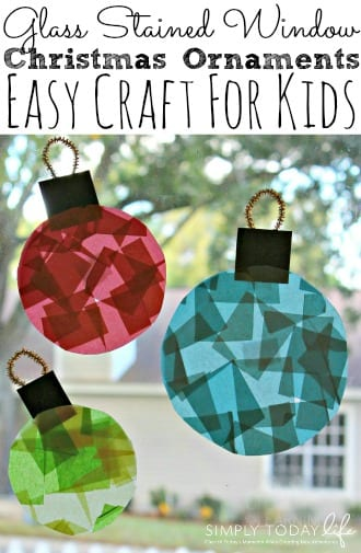 Glass Stained Window Christmas Ornaments Easy Craft For Kids - simplytodaylife.com