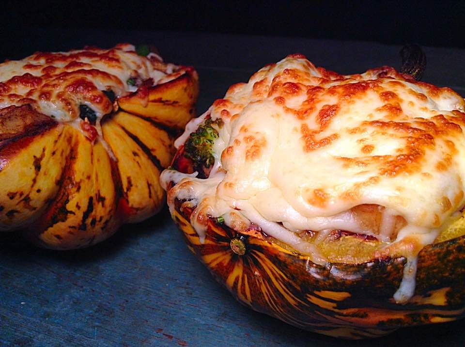 Cheesy white beans and veggies stuffed carnival squash