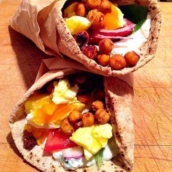 Spiced chickpea and egg pita with tzatziki