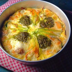Vegetables with kale pesto and zucchini blossom frittata
