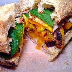 Butternut squash, egg and grilled veggie sandwich