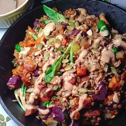 Lentil and sweet potato skillet