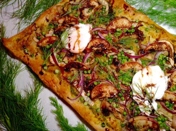 Peach and poached egg pizza