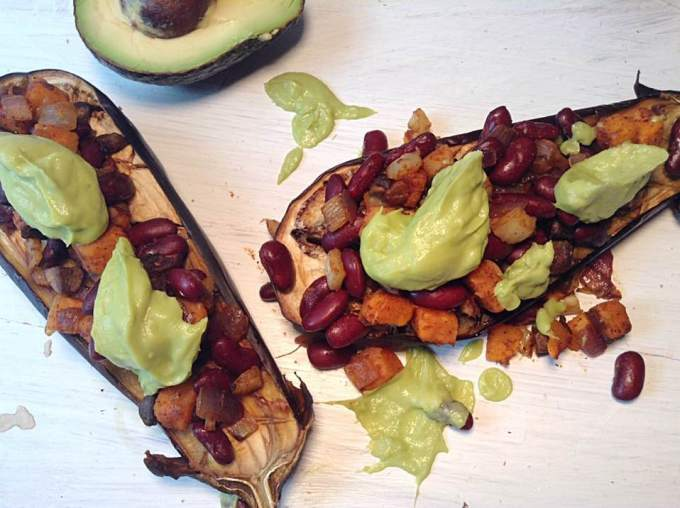 Red beans and sweet potato loaded eggplant
