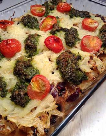 """Spaghetti squash and red bean bake with parsley """"pesto"""""""
